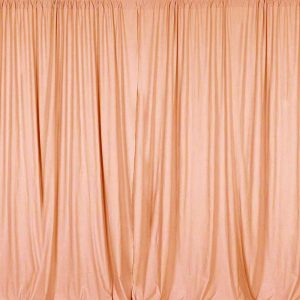 peach color drapery photo booth backdrop