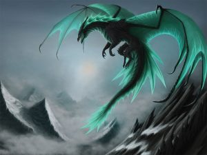 flying dragon on green background