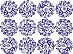 blue repeating pattern on white background