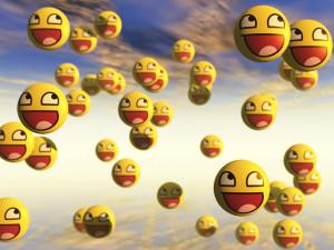 floating smiley emojis