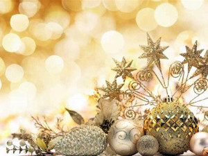 christmas holiday decorations with gold background