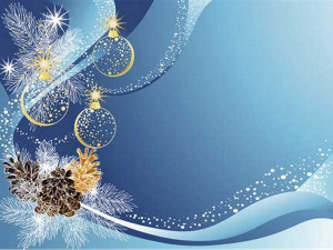 christmas holiday ornaments on blue / gray background