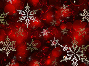 gold snowflakes on red background