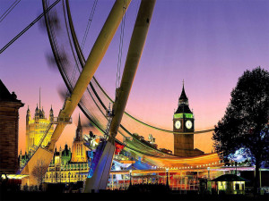 london eye with big ben in background at dusk