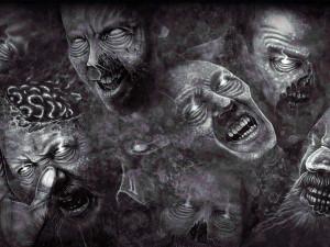 zombie faces peering